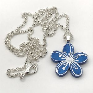 Etched Flower Necklace - Bluebell Woods