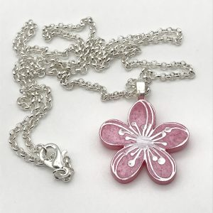 Etched Flower Necklace - Cool Pink