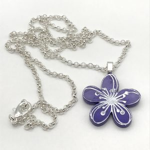 Etched Flower Necklace - Purple Passion