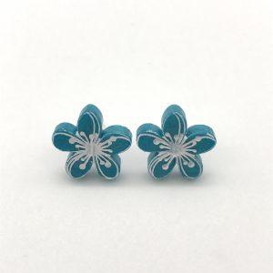 Etched Flower Studs - Aquamarine