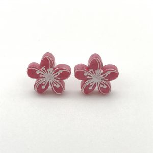 Etched Flower Studs - Cool Pink