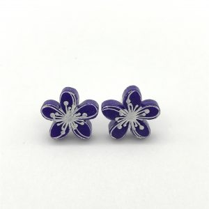 Etched Flower Studs - Purple Passion