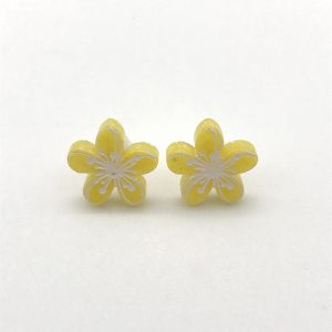 Etched Flower Studs - Yellow