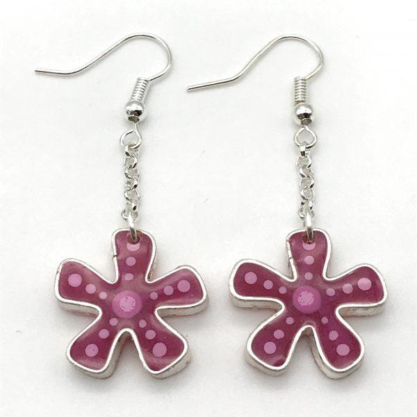 Flower Dangle Earrings - Pink