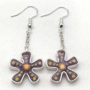 Flower Dangle Earrings - Purple