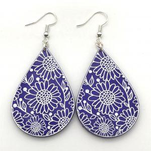 Flower Etched Teardrop Earrings - Purple Passion