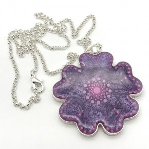 Pleated Dot Flower Necklace - Purple