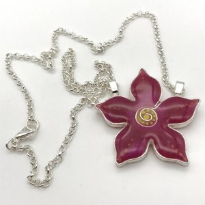 Pointed Dot Flower Necklace - Pink