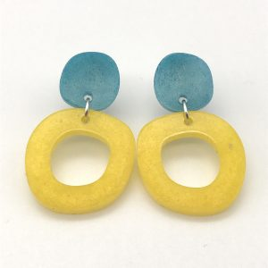 Circle Drop Earrings - Aquamarine and Yellow