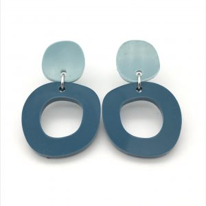 Circle Drop Earrings - Light and Dark Teal