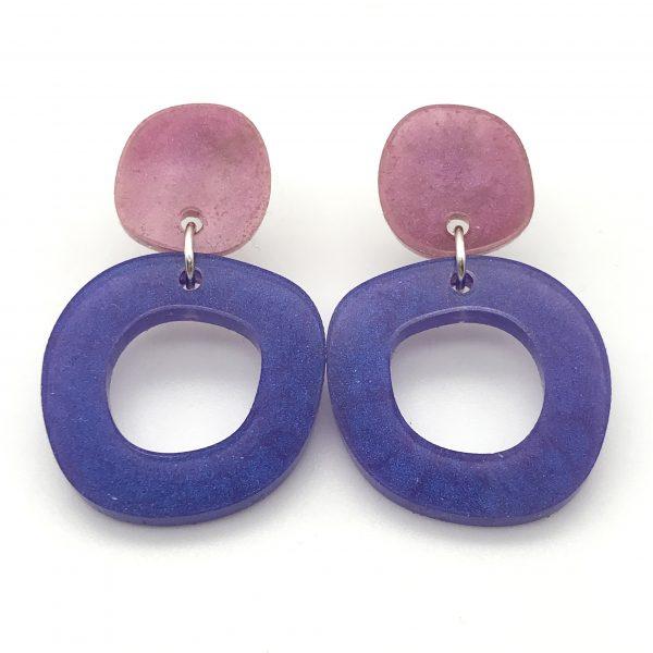 Circle Drop Earrings - Pink and Purple