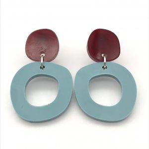 Circle Drop Earrings - Red and Light Teal