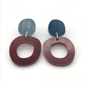 Circle Drop Earrings - Teal and Red