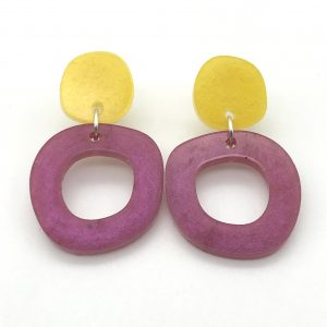 Circle Drop Earrings - Yellow and Pink