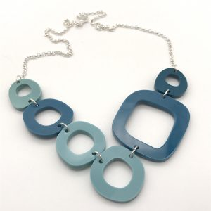 Circles Necklace - Asymmetic Teals