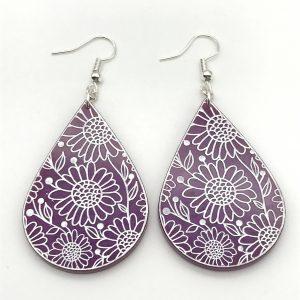 Flower Etched Teardrop Earrings - Indian Silk
