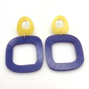 Square Drop Earrings - Yellow and Purple