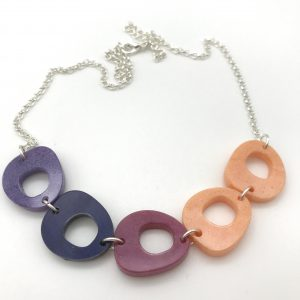 Abstract Circles Necklace - Purple to Peach