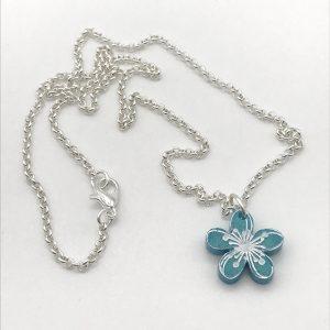 Etched Little Flower Necklace - Aquamarine