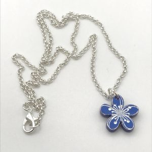 Etched Little Flower Necklace - Bluebell Woods