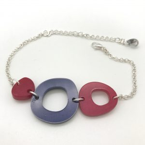 Multi Shape Bracelet - Red and Purple