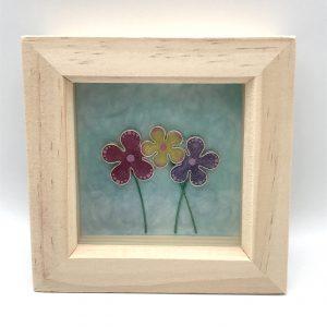 Framed Triple Flower Wall Hanging